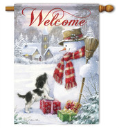 Snowman & Puppy Winter House Flag