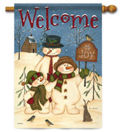 Snowman Family Decorative House Flag