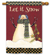 BreezeArt Primitive Snowman Outdoor House Flag