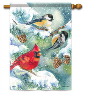 Winter Bird Trio Decorative House Flag