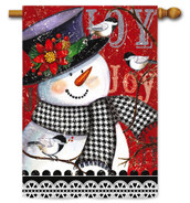 Outdoor House Flag Joyful Smiling Snowman