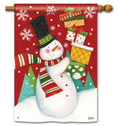 BreezeArt Happy Snowman Outdoor House Flag