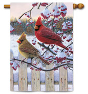 Outdoor House Flag Songbird Winter Cardinal