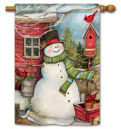 BreezeArt Red Barn Snowman Outdoor House Flag
