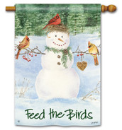 BreezeArt Snowman Birdfeeder House Flag reads correctly on both sides