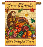 Thanksgiving House Flag Grateful Heart