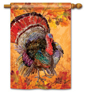 BreezeArt Thanksgiving House Flag Proud Turkey