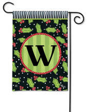 Monogram Garden Flag Letter W Holly Leaves