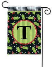 Monogram Garden Flag Letter T Holly Leaves