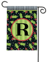 Monogram Garden Flag Letter R Holly Leaves