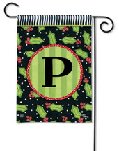 Monogram Garden Flag Letter P Holly Leaves