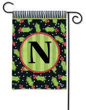 Monogram Garden Flag Letter N Holly Leaves