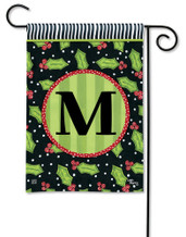 Monogram Garden Flag Letter M Holly Leaves
