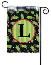 Monogram Garden Flag Letter L Holly Leaves