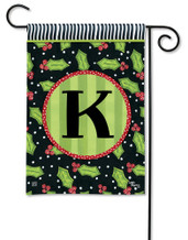 Monogram Garden Flag Letter K Holly Leaves