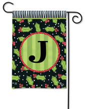 Monogram Garden Flag Letter J Holly Leaves