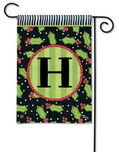Monogram Garden Flag Letter H Holly Leaves