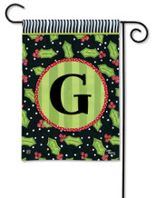 Monogram Garden Flag Letter G Holly Leaves