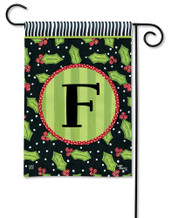 Monogram Garden Flag Letter F Holly Leaves