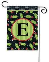 Monogram Garden Flag Letter E Holly Leaves