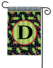 Monogram Garden Flag Letter D Holly Leaves