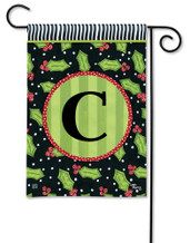 Monogram Garden Flag Letter C Holly Leaves