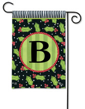 Monogram Garden Flag Letter B Holly Leaves