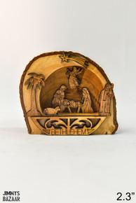 Glued nativity set with bark of wood