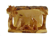 Nativity set - glued with bark of wood