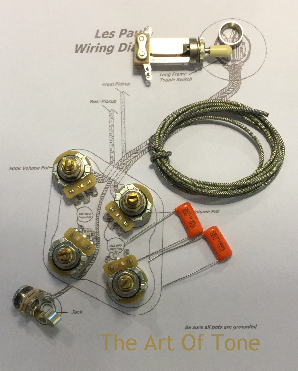 ... TAOT Gibson Les Paul Wiring Kit - Short Shaft - Orange Drop Caps The  Art Of ...