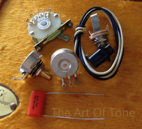 Deluxe Tele 4-way wiring kit Telecaster CTS 450G pots .047uf Orange Drop Cap.