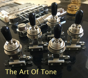 Bulk Lot of Five (5X) Switchcraft - Short Straight 3-way Toggle Switches - Black Tips - Epiphone®