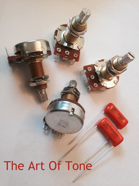 4X Bourns 500K Potentiometers - LONG Knurled Shaft + Pair .022uF Orange Drop Caps