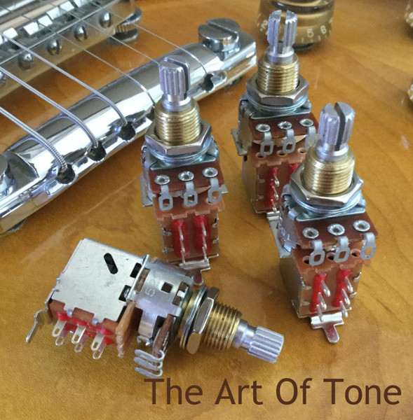 Set of four Bourns 500K push-pull (DPDT) short shaft pots. The Art Of Tone