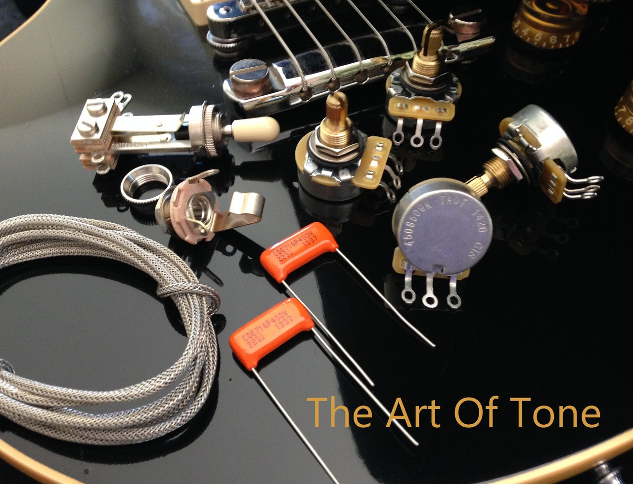 TAOT Wiring Kit - Gibson Les Paul - Short Shaft - CTS 525K - Orange Drop Capacitors  The Art Of Tone TAOT Art Of Tone Antonio Johnson Photography Zemaitis guitars