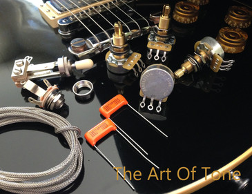 TAOT Wiring Kit - Gibson Les Paul - Long Shaft - CTS 450G 525K Pots - Orange Drop Caps  The Art Of Tone  Antonio Johnson photography