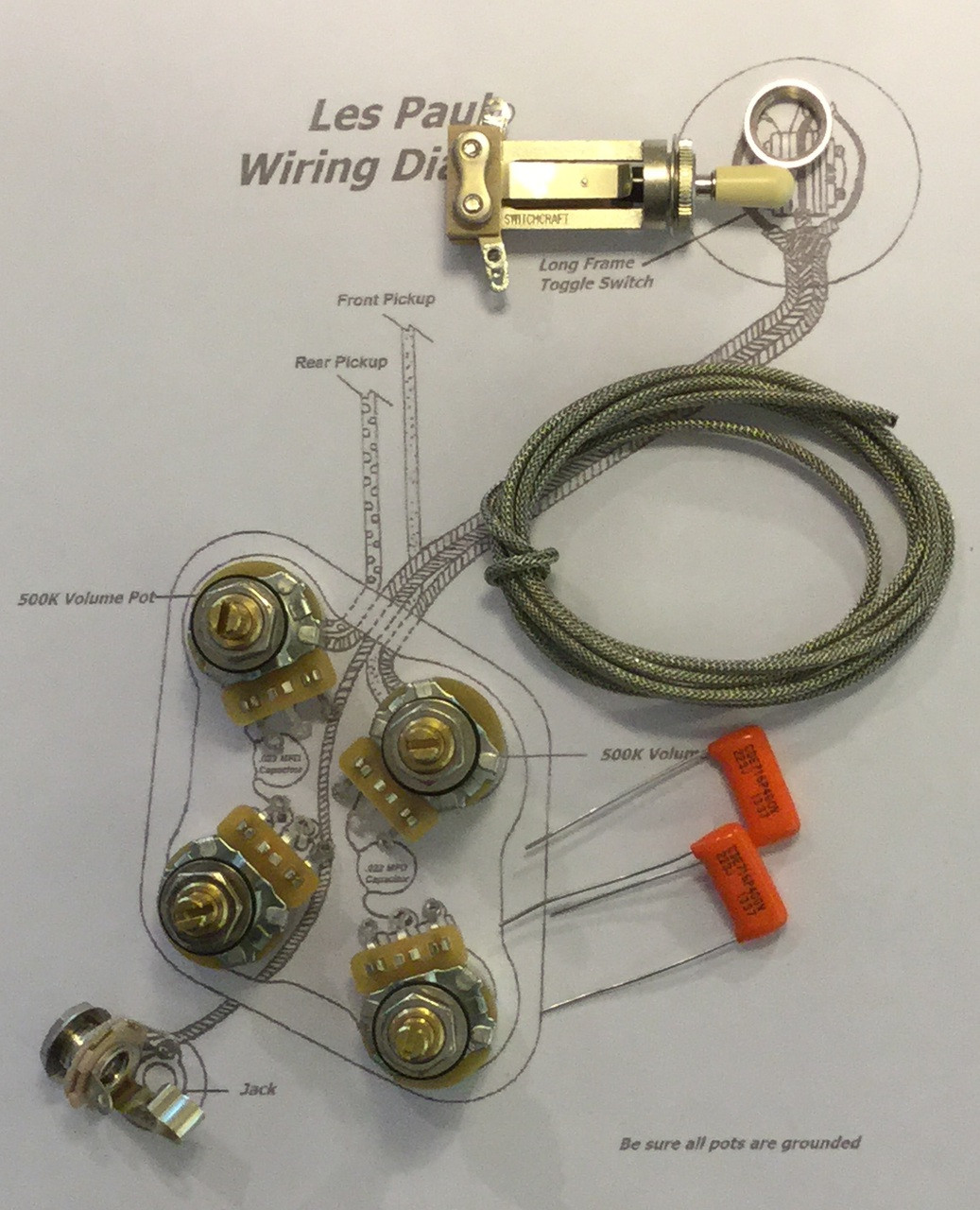Les Paul Wiring Set Simple Diagram Schematic Kit Gibson Long Shaft Cts Taot 500kxl Pots Goldtop