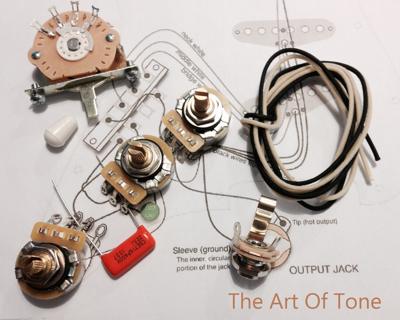 TAOT Deluxe Strat Wiring Kit - CTS 450G pots, Oak-Grigsby 5-way, .022 SOD. The Art Of Tone