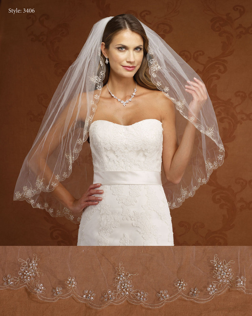 Marionat Bridal Veils 3406- Gold Embroidered Scalloped- The Bridal Veil Company
