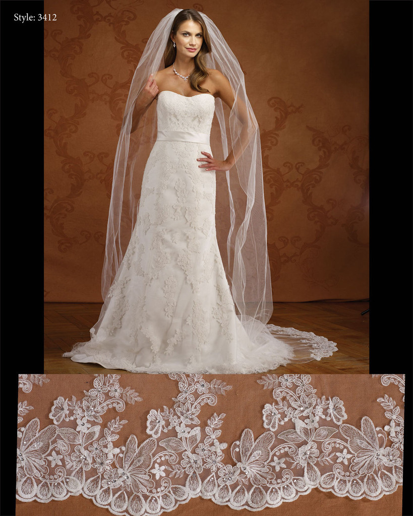 Marionat Bridal Veils 3412- Lace Butterfly Veil- The Bridal Veil Company