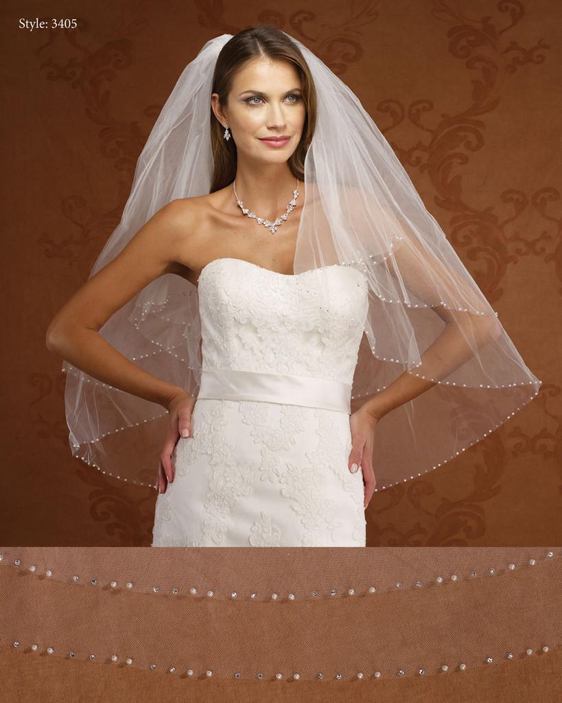 Marionat Bridal Veils 3405- Two Tier Pearl and Rhinestone Edge- The Bridal Veil Company