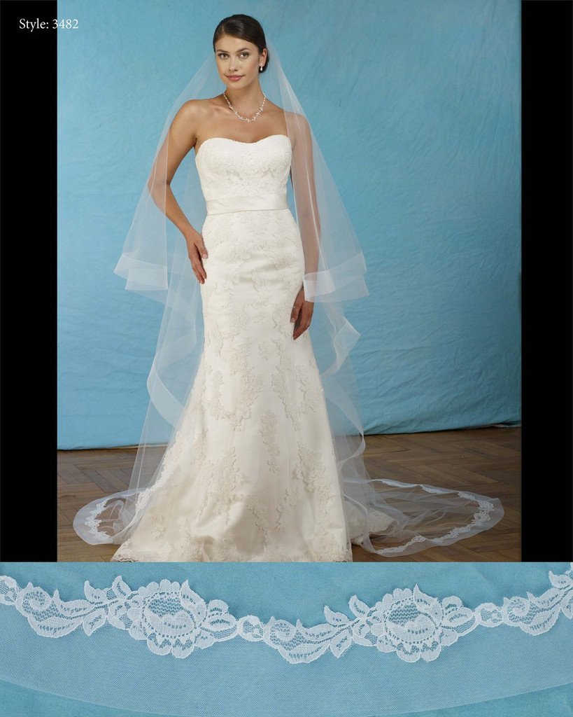 "Marionat Bridal Veils 3482-Foldover horsehair lace veil 108"" Inches Long -The Bridal Veil Company"