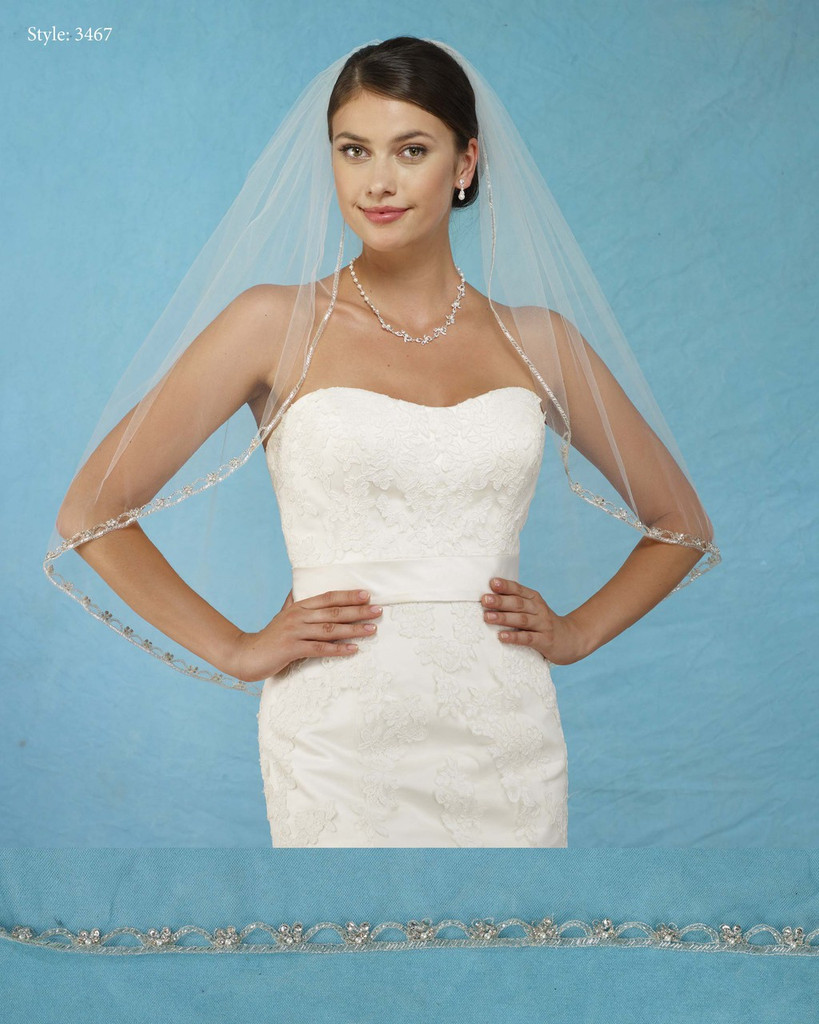 Marionat Bridal Veils 3467 - Rhinestone Beaded Edge - The Bridal Veil Company