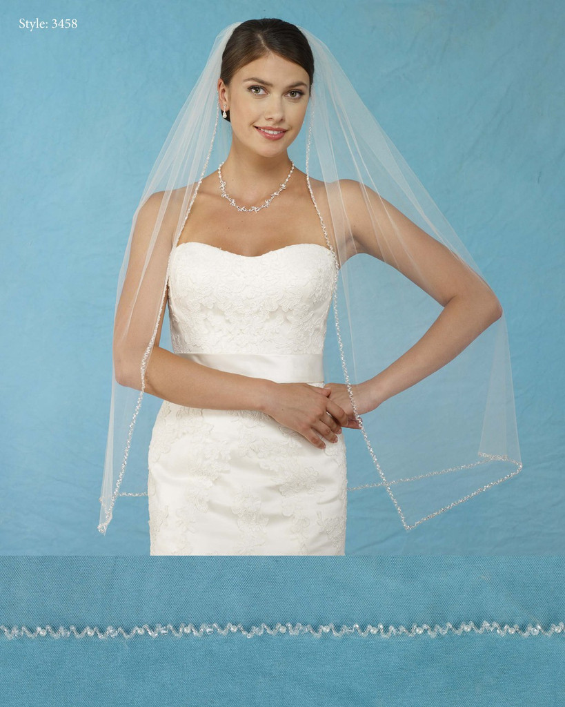 Marionat Bridal Veils 3458 - Square Cut Beaded Edge - The Bridal Veil Company