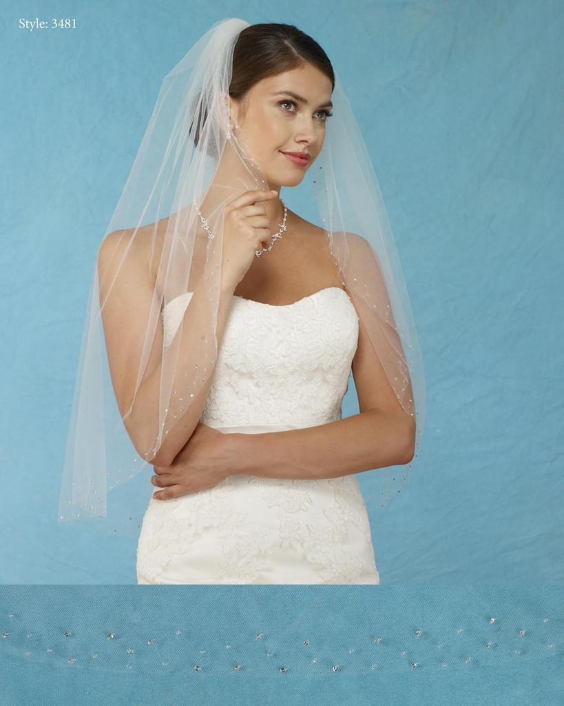Marionat Bridal Veils 3481 - Scattered Beaded Border - The Bridal Veil Company