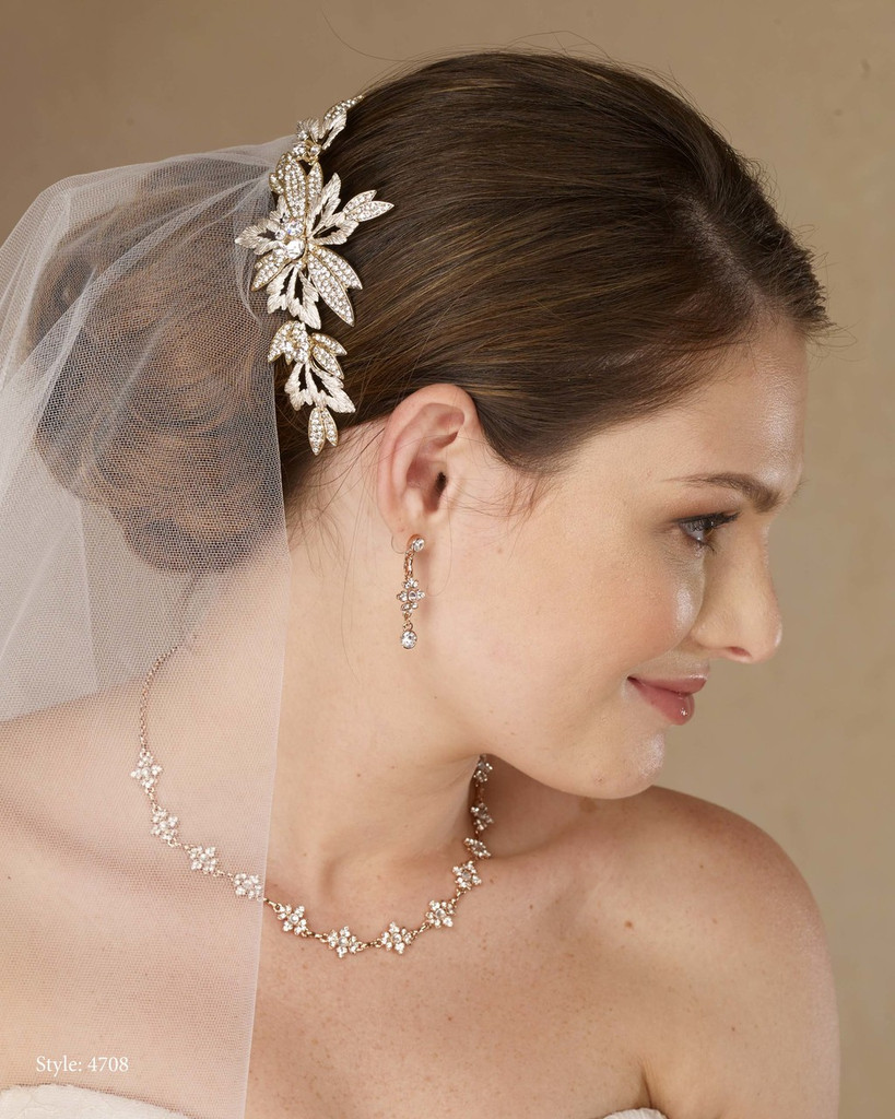 Marionat Bridal 4708 Gold clip with rhinestone - Le Crystal Collection
