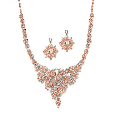 Mariell Bridals Rose Gold & Crystal Statement Necklace Set 4184S-RG