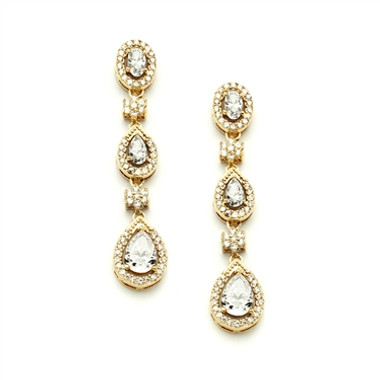 Mariell Gold Cubic Zirconia Dangle Wedding Earrings 4097E