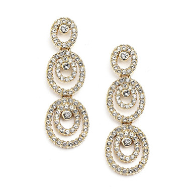 Concentric Ovals Gold Wedding Cubic Zirconia 4066E-G