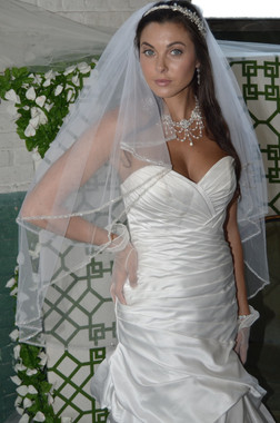 Ansonia Bridal Veil Style 710S - Two Tier Fingertip Beaded Edge Veil